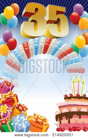 Background with design elements and the birthday cake. The poster or invitation for thirty-fifth birthday or anniversary.