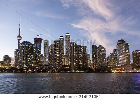 Skyline view of Toronto downtown at dusk. Province of Ontario Canada