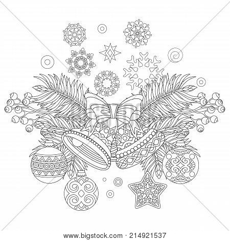 Coloring page with Christmas decorations. Fir tree jingle bells christmas balls vintage snowflakes. Freehand sketch drawing for 2018 Happy New Year greeting card or adult antistress coloring book.