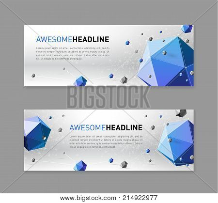Abstract flyer or web slideshow template with low polygonal solids.