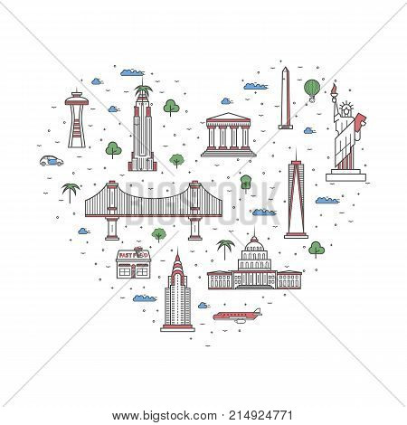 I love USA poster with national architectural attractions in heart frame. Historic american famous landmarks and traditional symbols. Touristic advertising vector layout in trendy linear style.