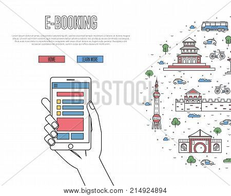 Online tickets ordering poster with chinese famous architectural landmarks in linear style. E-booking vector with smartphone in hand, mobile payment. World traveling, China historic attractions.