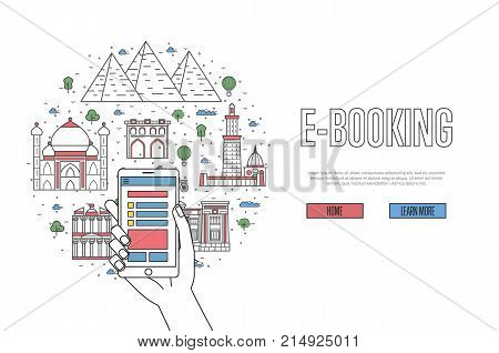 E-booking poster with egyptian famous architectural landmarks in linear style. Online tickets ordering, mobile payment vector with smartphone in hand. World traveling, Egypt historic attractions