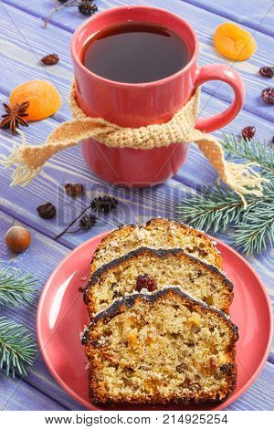 Cup Of Tea, Fresh Baked Fruitcake For Christmas Time And Spruce Branches