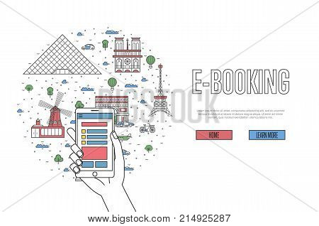 E-booking poster with parisian famous architectural landmarks in linear style. Online tickets ordering, mobile payment vector with smartphone in hand. Europe traveling, french historic attractions
