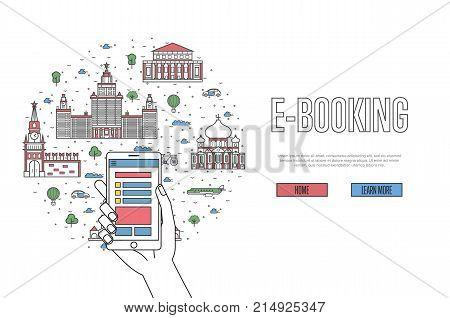 E-booking poster with moscow famous architectural landmarks in linear style. Online tickets ordering, mobile payment vector with smartphone in hand. Russia traveling, moscow historic attractions