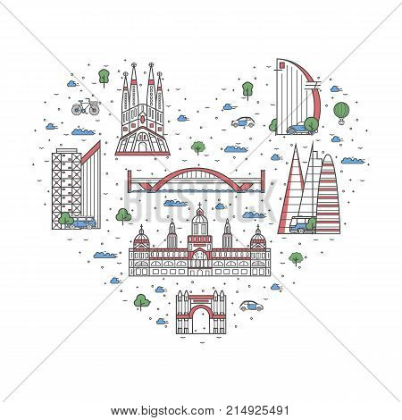 I love Spain poster with national architectural attractions in heart frame. Historic spanish famous landmarks and traditional symbols. Touristic advertising vector layout in trendy linear style.