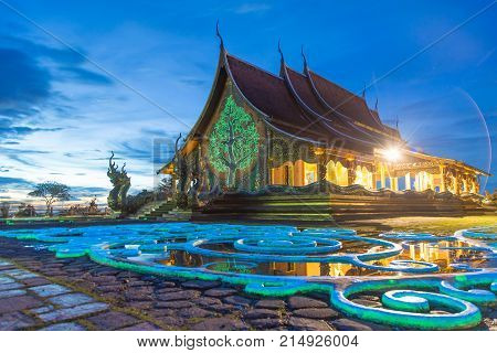 A beautiful color reflection with twilight at Wat Sirindhorn Wararam Phu Prao.unseen in thailand.