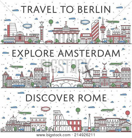 European traveling posters with Berlin, Amsterdam and Rome city panoramas in linear style. Touristic tour advertising, famous world architectural attractions. Global tourism, time to travel concept.