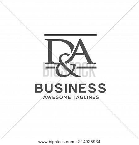 D&A letter logo design vector illustration template, A  letter logo vector, letter D and A logo vector, creative Letter DA letter logo