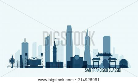 San Francisco skyline with its most notable buildings, detailed vector illustration