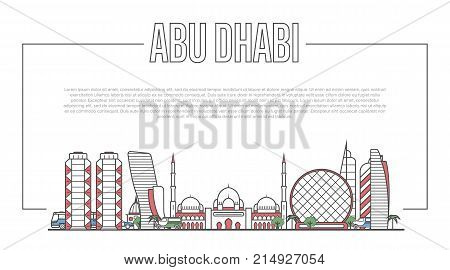 Abu Dhabi city landmark panorama with famous modern and ancient architecture in linear style. Abu Dhabi national landmarks on white background. Worldwide traveling, middle east journey vector concept.