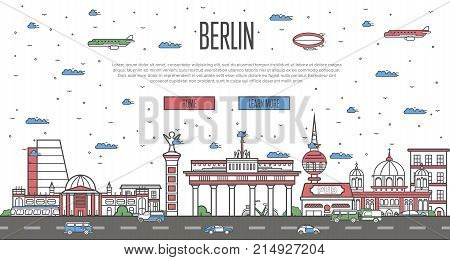 Berlin skyline with national famous landmarks in trendy linear style. German traveling vector concept, touristic tour advertising with Berlin historic architectural attractions on white background.