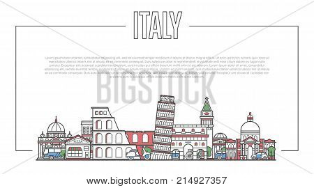 Italy landmark panorama with famous modern and ancient architecture in trendy linear style. Italian national landmarks on white background. Worldwide traveling and journey vector concept.
