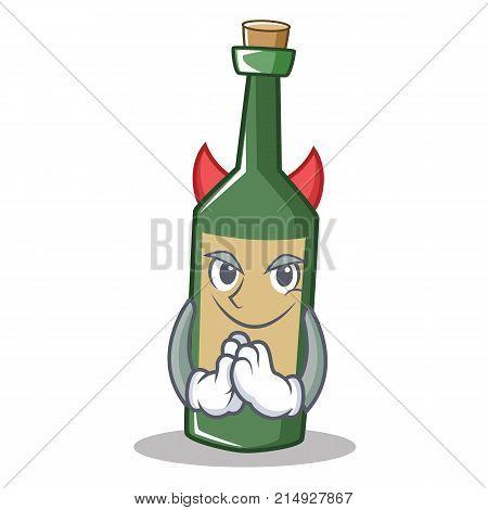 Devil wine bottle character cartoon vector illustration
