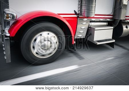 Close up of 18 wheeler truck and motion blur