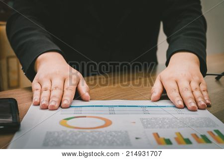 Asia Businesswoman Presenting Graph Analysis Documents Paper, Business Concept