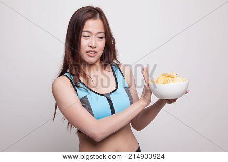 Asian Healthy Girl  Hate Potato Chips, Junk Food.