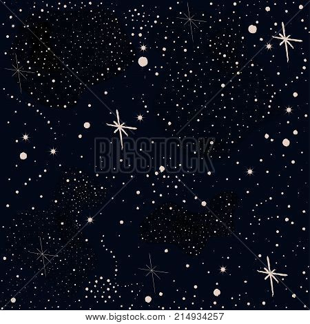 Seamless Pattern with stars and bright shiny stars on dark background. Cosmic Background for cards book covers templates patterns etc. Vector Illustration