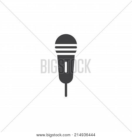 Microphone icon vector, filled flat sign, solid pictogram isolated on white. Mic symbol, logo illustration