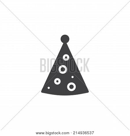 Party hat icon vector, filled flat sign, solid pictogram isolated on white. Cone hat symbol, logo illustration