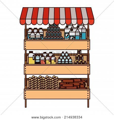 supermarket shelf with sunshade colorful silhouette with thin black contour vector illustration