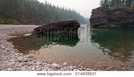 Fly Fishing At The Confluence Of The Flathead And Spotted Bear Rivers In The Bob Marshall Wilderness