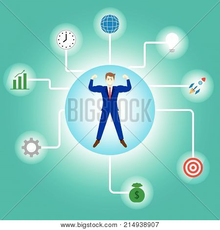 Business Concept As A Full-Energy Muscular Businessman Is Connected With Glowing Business Icons. It Means Strength Of Self Performance Relates To Achievement Success Idea Time Management.