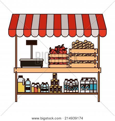 supermarket shelf with weighing machine and sunshade with foods and beverages in colorful silhouette with thin black contour vector illustration