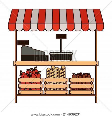 supermarket shelf with weighing machine and cash register and sunshade with foods in colorful silhouette with thin black contour vector illustration