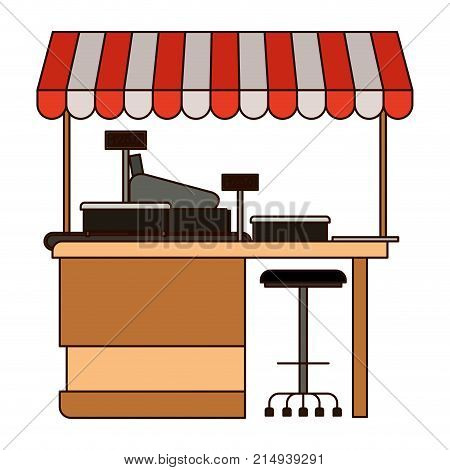 supermarket shelf with weighing machine and cash register point with sunshade in colorful silhouette with thin black contour vector illustration