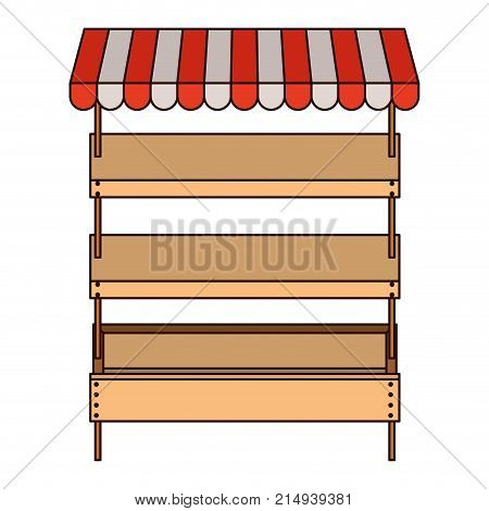 supermarket shelves empty with three levels and sunshade in colorful silhouette with thin black contour vector illustration