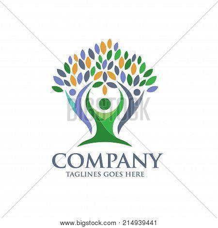 family health logo vector, Family tree logo and plant, family care symbol icon design vector.