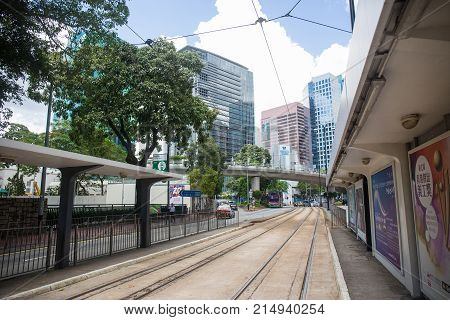 Hong Kong S.A.R. - July 13 2017: Tram stop on the Tin Chiu street in Nort Point Hong Kong. Hong Kong tram or Ding Ding is one of the earliest forms of public transport in the metropolis