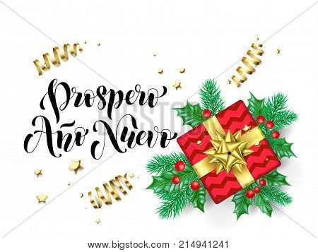 Prospero Ano Nuevo Happy New Year Spanish Calligraphy Hand Drawn Text For Greeting Card Background T