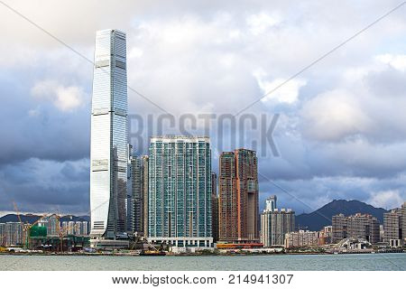 Hong Kong S.A.R.China - September 24 2017: ICC - International Commerce Center the world's fifth tallest building in Kowloon at sunset and reflex .The 100th floor called Sky100 which opened to the public in April 2011