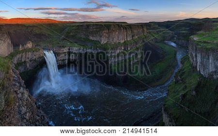The Palouse Falls in Washington, USA at sunset
