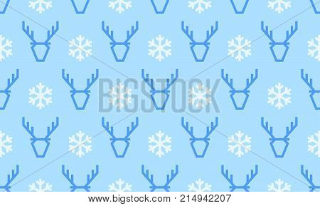 Christmas Pattern Background Of Seamless Deer Reindeer And Snowflake. Vector Blue Deer Pattern On Wh