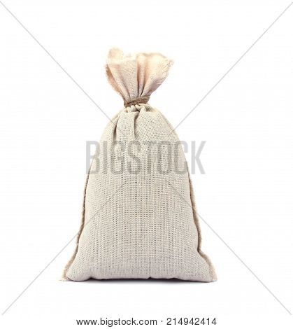 bag from a sacking isolated on white background. Filled and tied with rope. close-up.