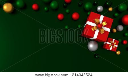 3d red gift box  tied with a white satin ribbon bow. and color balls on green background.for Christmas and new year