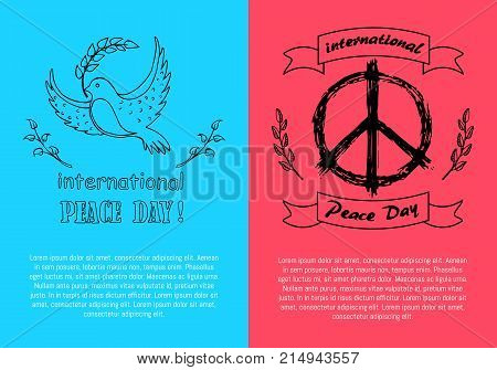 International Peace Day logotypes on two colorful posters. On vector illustration, flying dove holds twig, hippie logo surrounded by spikelets
