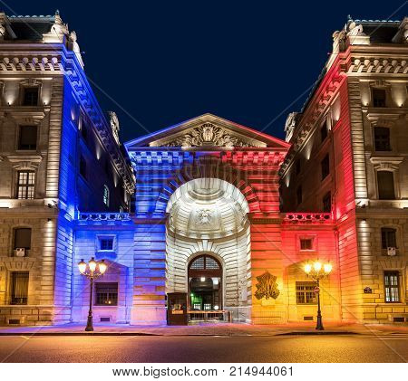 Paris France - October 17 2017: Night view of gate at police prefecture at night. Copy space in sky.