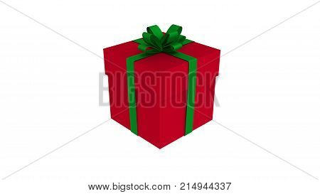 3D red gift box tied with a green satin ribbon bow. Isolated on white background.for Christmas and new year.
