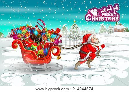 Santa Claus with sledge full of gift in Merry Christmas holiday background. Vector illustration