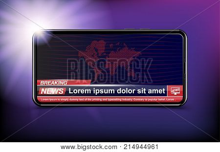 Banner Breaking News Template In Realistic Smartphone On Dark Background. Concept For Screen Tv Chan