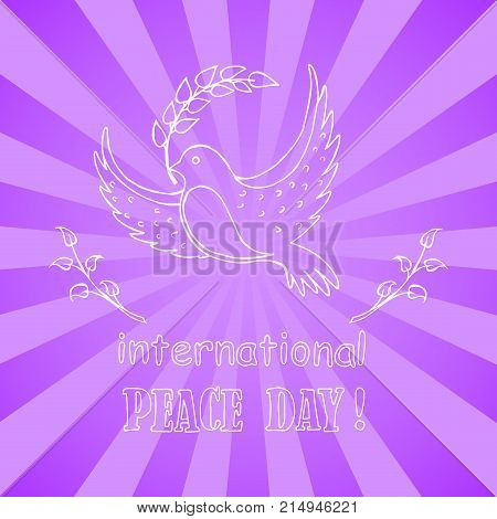 International peace day vector illustration with dove holding twig in beak. Pigeon as symbol of harmony and love isolated on purple background with rays