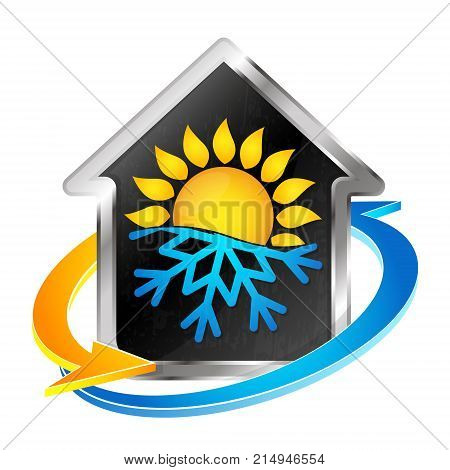 Air conditioning and heating house symbol for business