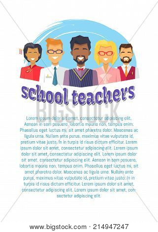 School male and female teachers vector illustration poster with place for text, teacher and literacy day conceptual banner in flat style