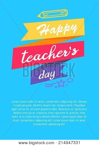 Happy literacy day poster with pencil silhouettes, inscription on ribbon and place for text vector illustrations on blue, greeting cover design