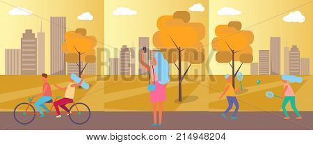 Active people practising in autumn city park, cycling couple, woman taking pictures and friends playing badminton vector illustration
